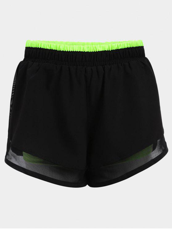 trendy Mesh Double Layered Running Shorts - GREEN S