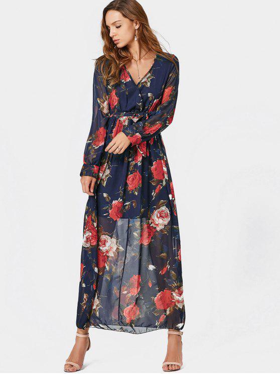 trendy V Neck Floral Print Belted Maxi Dress - FLORAL XL