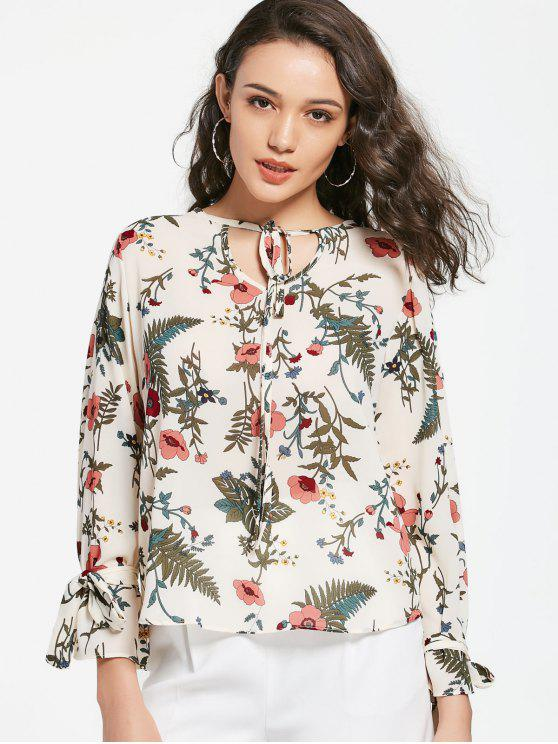 outfits Floral Tie Neck Blouse - FLORAL ONE SIZE