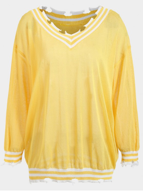 Pull Cricket Grande Taille Détresse - Jaune TAILLE MOYENNE