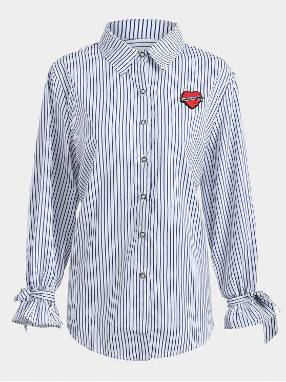 trendy Plus Size Applique Striped Shirt - PURPLISH BLUE XL