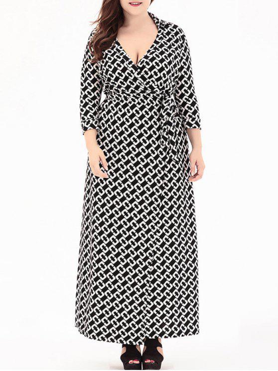 زائد حجم يغرق الخامس الرقبة فستان ماكسي التفاف - أسود 2XL