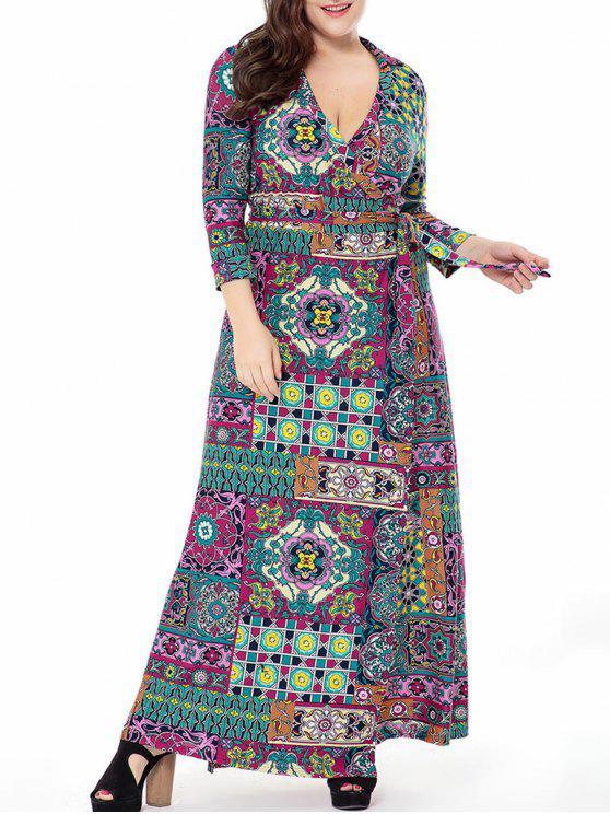 فستان الحجم الكبير طباعة الأزهار لف ماكسي - متعدد 5XL