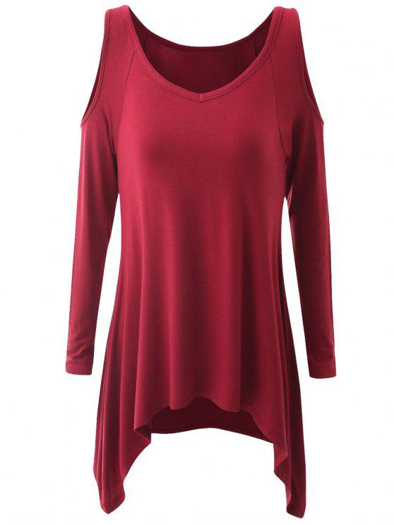 a427f34498636 2018 Plus Size Cold Shoulder Asymmetrical T-shirt In WINE RED XL