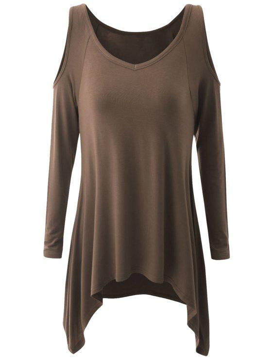 2b4291ade2ef 33% OFF  2019 Plus Size Cold Shoulder Asymmetrical T-shirt In COFFEE ...
