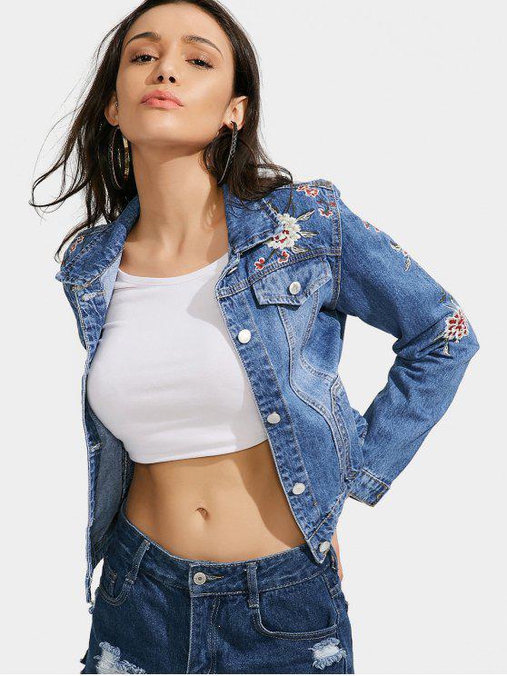 women Floral Embroidered Faux Pockets Jacket - DENIM BLUE S