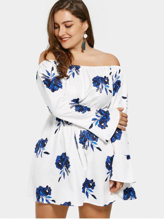 buy Off Shoulder Floral Drawstring Plus Size Dress - WHITE XL