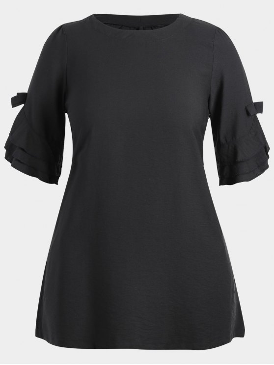 2018 Frilled Plus Size Tunic Dress In Black 3xl Zaful