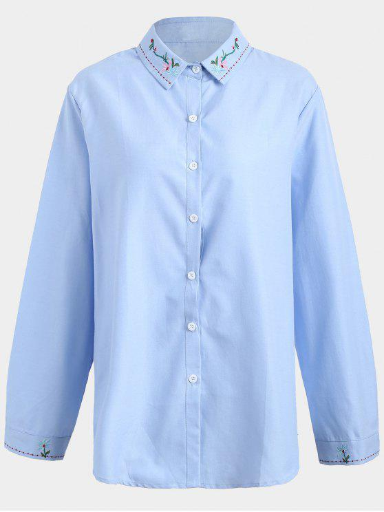 Camisa bordada de talla grande - Azul 4XL