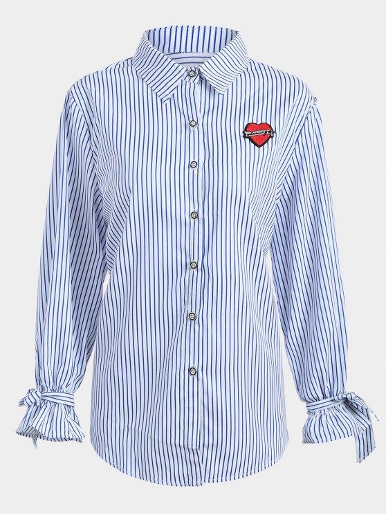 Plus Size Applique Camicia a righe - Blu 3XL