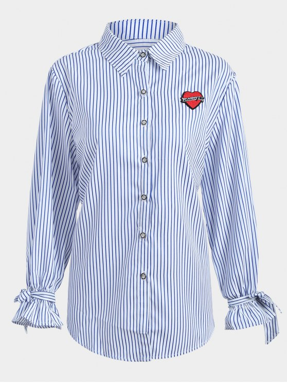 ladies Plus Size Applique Striped Shirt - BLUE 2XL