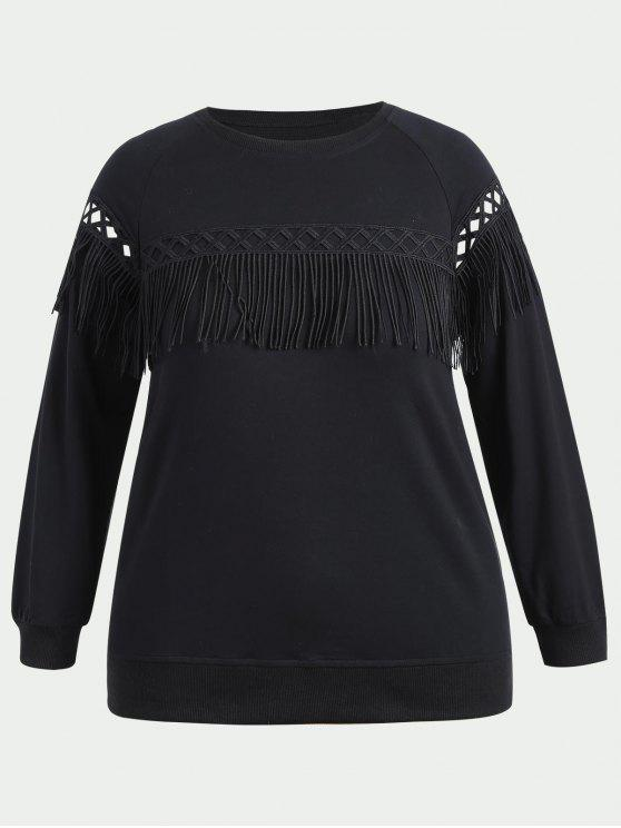 Sweat-shirt à Franges Grande Taille - Noir 2XL