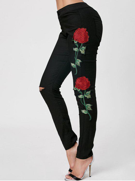 جينز ممزق مطرز - أسود XL