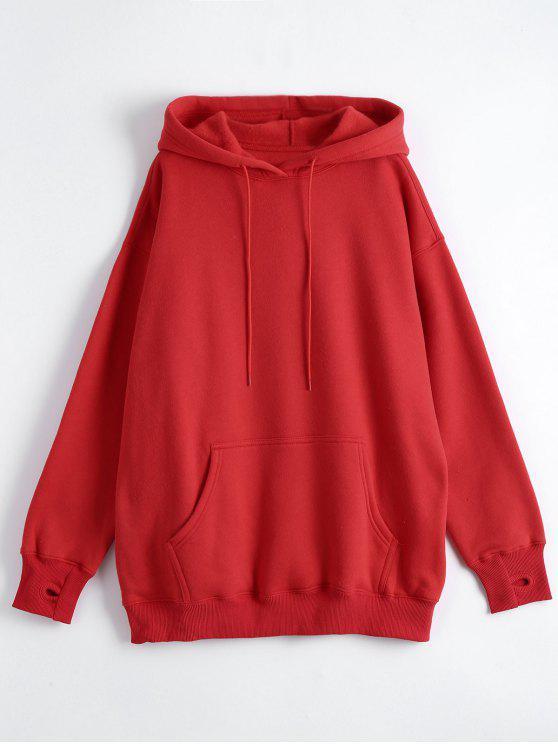 women's Kangaroo Pocket Loose Fit Flock Hoodie - RED 2XL