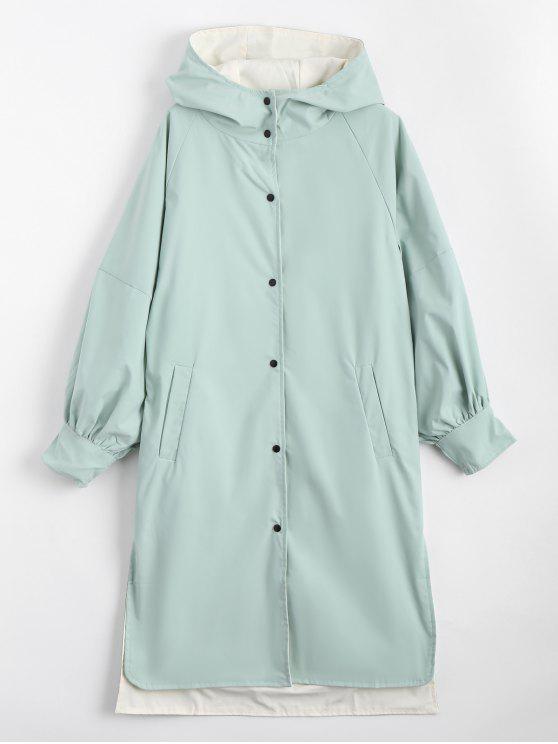 معطف الخندق تصميم الزر بغطاء الرأس - اخضر فاتح XL