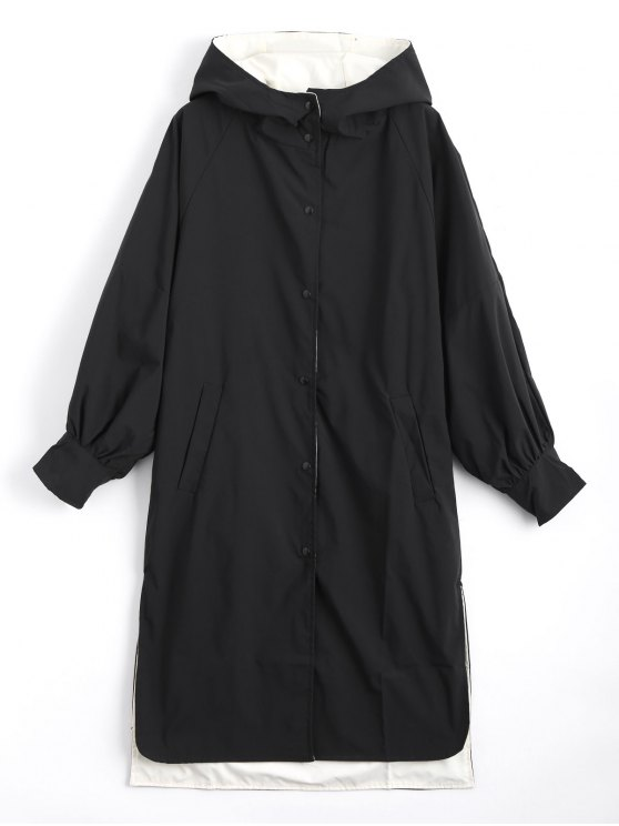 sale Hooded Button Up Double Side Trench Coat - BLACK XL