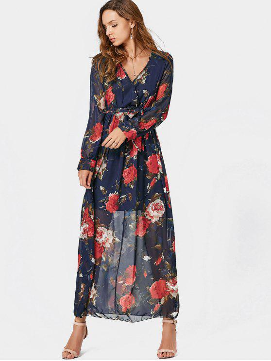 V Neck Floral Print Belted Maxi Dress