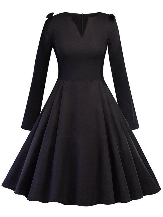 2018 Vintage V Neck Bowknot Pinup Dress In Black L Zaful