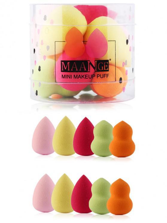 Mini Freidoras de Polvo de Maquillaje Multifunctional con Caja de 10 Piezas - Multicolor
