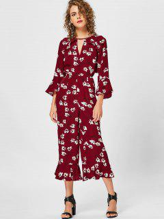 Floral Ruffles Bell Bottom Jumpsuit - Burgundy L