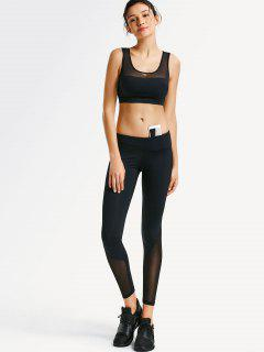 Mesh Panel Yoga Bra With Leggings - Black S