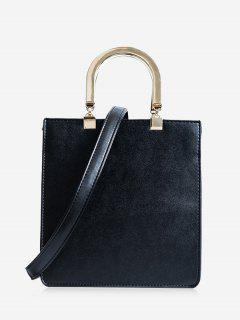 Faux Leather Handbag With Strap - Black