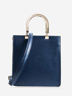 Faux Leather Handbag With Strap - Deep Blue