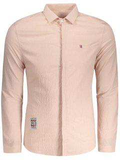 Textured Button Up Shirt - Baby Pink Xl