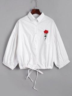 Chemise Brodée à L'arc Tied Rose - Blanc