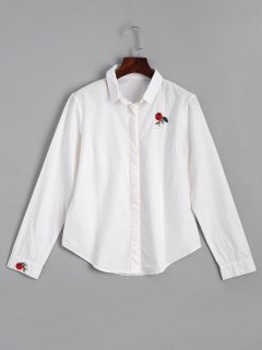 Button Down Rose Embroidered Shirt - White Xl