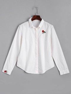 Chemise Brodée Rose à Boutons Cachés - Blanc S