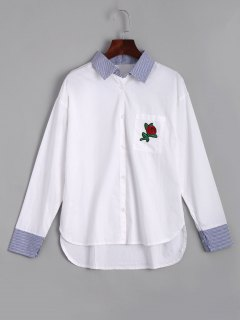 Rose Embroidered Stripes High Low Shirt - White M