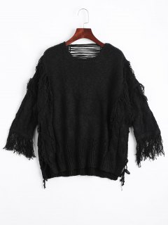 Ripped Fringed Cable Knit Sweater - Black