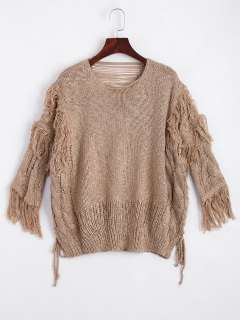 Ripped Fringed Cable Knit Sweater - Khaki