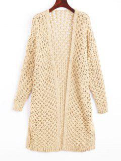 Cut Out Open Front Cardigan - Off-white