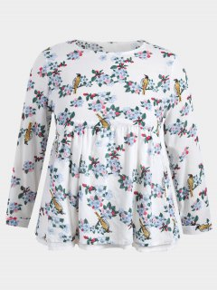 Plus Size Floral Babydoll Top - White 2xl