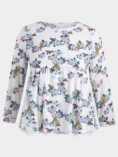 Plus Size Floral Babydoll Top - White 2xl
