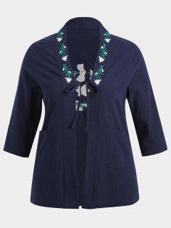 Plus Size Flower Embroidered Kimono - Purplish Blue Xl