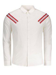 Stripe Applique Shirt - White 2xl