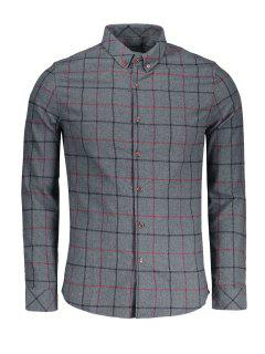 Checked Flannel Shirt - Deep Gray Xl