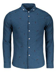 Button Down Printed Casual Shirt - Blue Xl