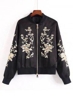 Sequins Floral Embroidered Bomber Jacket - Black S
