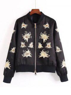 Sequins Embroidered Bomber Jacket - Black M