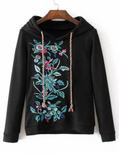 Cute Floral Embroidered Hoodie - Black S