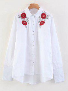 Floral Embroidered Sequins High Low Shirt - White S