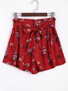 Belted Floral High Waisted Shorts - Red S
