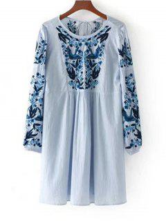 Long Sleeve Stripes Embroidered Tassels Dress - Blue L
