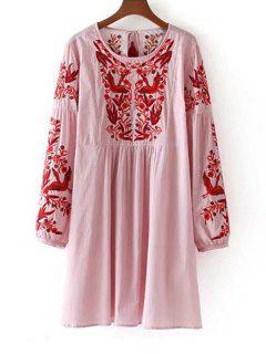 Lange Ärmel Streifen Gestickte Quasten Kleid - Rot M