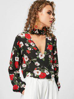 Flower Ruffles Cropped Choker Blouse - Floral S