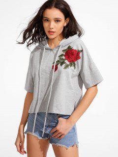 Drawstring Embroidery Hoodie - Gray M